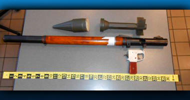 Defunct grenade launcher that TSA agents spotted in a passenger's checked bag at an Airport in Pennsylvania
