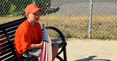 Boy on Bench at Labor Day Parade 2018