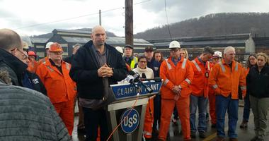 Standing with several dozen US Steel workers, Pennsylvania Lt. Governor John Fetterman defended US Steel's handling of the aftermath of a large December fire that damaged pollution control equipment at the Clairton Coke Works.
