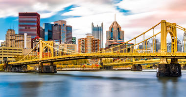 Rachel Carson Bridge aka Ninth Street Bridge spans Allegheny river in Pittsburgh, Pennsylvania