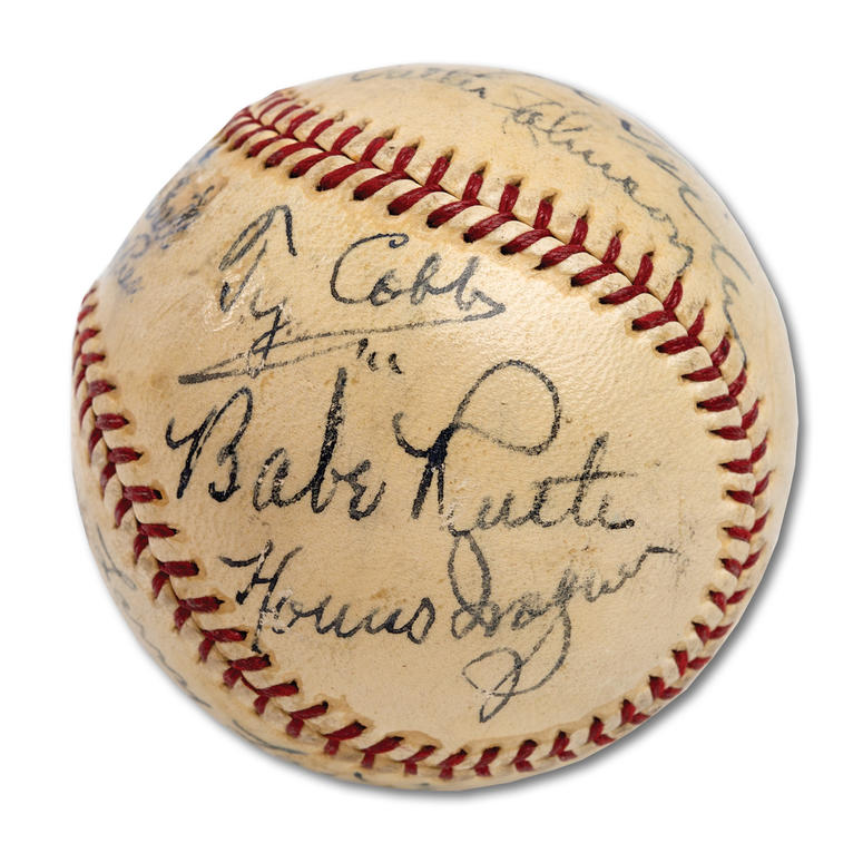 Ball Holding 11 Original Baseball Hall Of Fame Inductees Sells for Over 600K