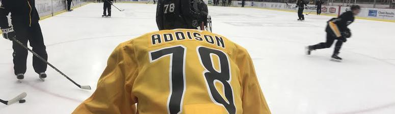 Penguins second-round draft pick and prospect Calen Addison at the team's development camp in June 2018