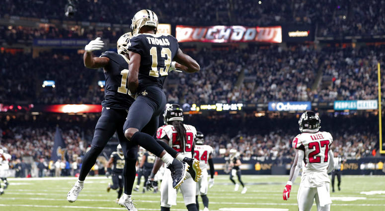 New Orleans Saints wide receiver Tommylee Lewis celebrates his touchdown reception