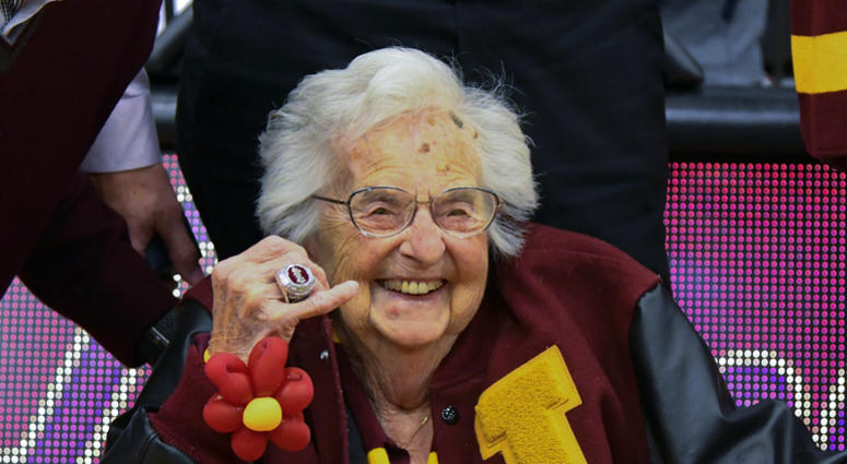 Loyola University of Chicago's Sister Jean shows off the NCAA Final Four ring