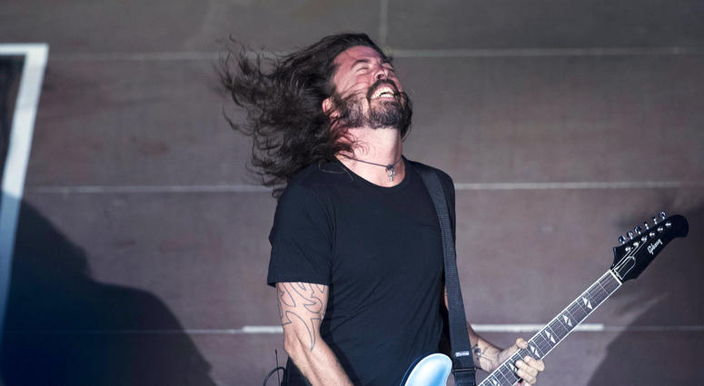 Foo Fighters' Dave Grohl performs in the ancient theatre of Herodes Atticus under the Acropolis in Athens