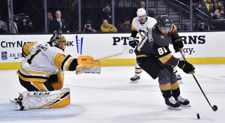Vegas Golden Knights center Jonathan Marchessault (81) shoots against Pittsburgh Penguins goaltender Casey DeSmith (1