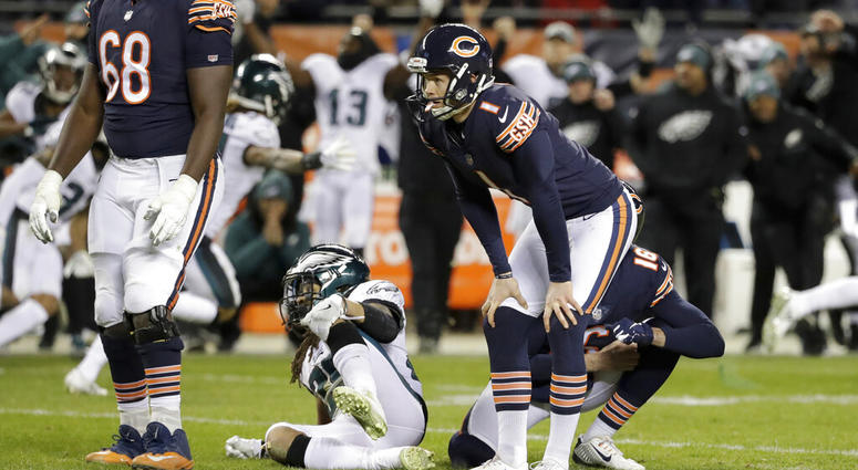 Chicago Bears kicker Cody Parkey (1) reacts after missing a field goal in the closing minute of the team's NFL wild-card playoff football game against the Philadelphia Eagles in Chicago.