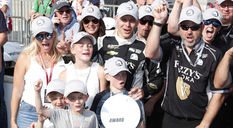 Ed Carpenter And His Family Celebrate Winning The Pole Position For The 102nd Indianapolis 500