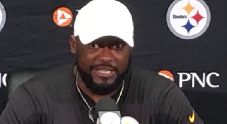 Steelers coach Mike Tomlin at press conference at training camp in 2018