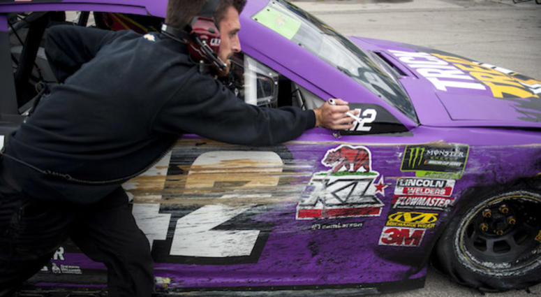 The Chip Ganassi Racing No. 42 McDonald's Chevrolet Camaro After Driver Kyle Larson Hit Wall In Practice At Kansas Speedway