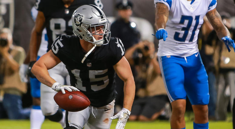 Oakland Raiders wide receiver Ryan Switzer (15) celebrates after scoring a touchdown during the second quarter against the Detroit Lions at Oakland Coliseum.