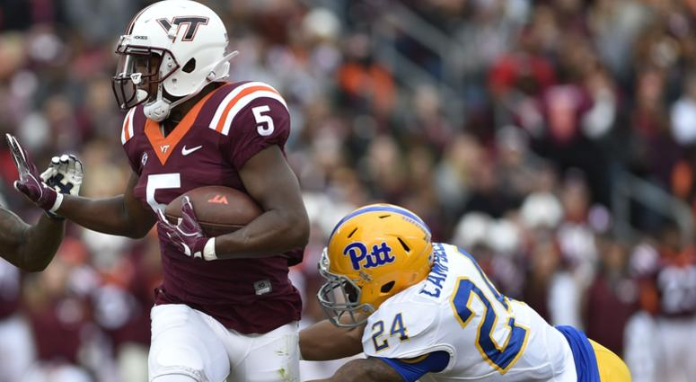 Phil Campbell III makes a tackle against Virginia Tech in 2017.