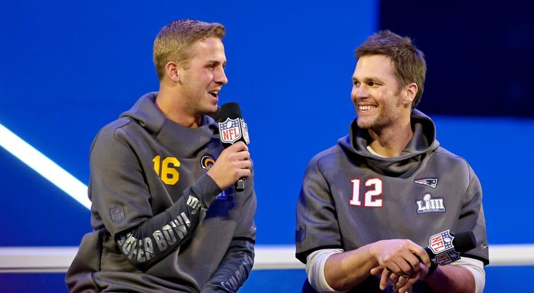 Los Angeles Rams quarterback Jared Goff (16) and New England Patriots quarterback Tom Bradu
