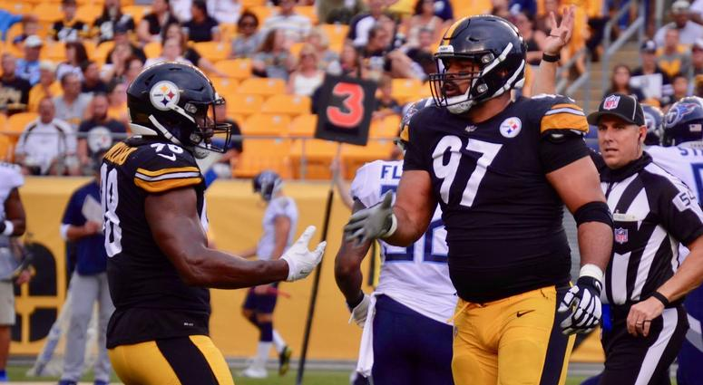 Steelers linebacker Vince Williams and defensive end Cam Heyward in a 16-6 preseason win over Tennessee in 2018