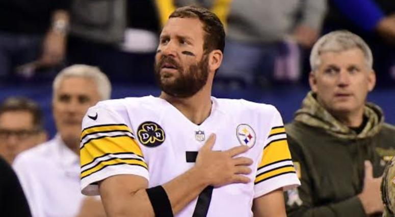Steelers QB Ben Roethlisberger stands during the National Anthem during a game in 2017