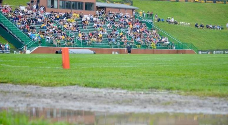 Water sits on Chuck Noll Field after heavy rains in Latrobe during Steelers training camp