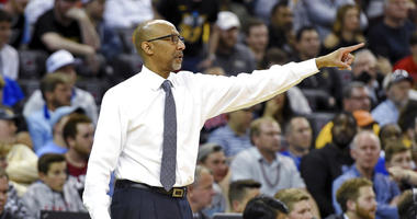 Central Florida coach Johnny Dawkins points during the team's first-round game against VCU in the NCAA men's college basketball tournament Friday, March 22, 2019, in Columbia, S.C.