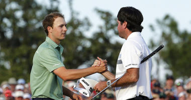 In this April 13, 2014, file photo, Bubba Watson, right, shakes hands with Jordan Spieth after winning the Masters golf tournament in Augusta, Ga. Watson won his second green jacket five years ago this week.