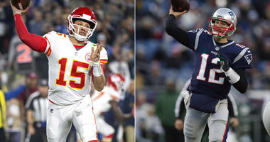 Kansas City Chiefs quarterback Patrick Mahomes; Patriots quarterback Tom Brady