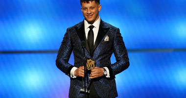 Patrick Mahomes of the Kansas City Chiefs accepts the award for AP offensive player of the year at the 8th Annual NFL Honors at The Fox Theatre on Saturday, Feb. 2, 2019, in Atlanta