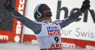 Norway's Aksel Lund Svindal reacts in the finish area after the men's downhill race, at the alpine ski World Championships in Are, Sweden, Saturday, Feb. 9, 2019.