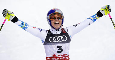 United States' Lindsey Vonn smiles in the finish area after the women's downhill race, at the alpine ski World Championships in Are, Sweden, Sunday, Feb. 10, 2019