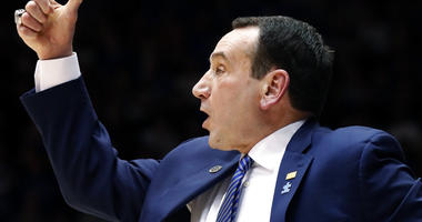 Duke Blue Devils head coach Mike Krzyzewski directs the team against North Carolina State during the second half of an NCAA college basketball game in Durham, N.C., Saturday, Feb. 16, 2019