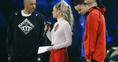 Dell Curry and son's Stephen Curry and Seth Curry are interviewed during the NBA All-Star 3-Point contest, Saturday, Feb. 16, 2019, in Charlotte, N.C.
