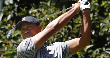 Tiger Woods hits the ball during a practice prior the WGC-Mexico Championship at the Chapultepec Golf Club in Mexico City, Wednesday, Feb. 20, 2019.