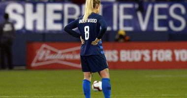 U.S. midfielder Julie Ertz stands on the pitch after the team's 2-2 draw against England in a SheBelieves Cup women's soccer match Saturday, March 2, 2019, in Nashville, Tenn.