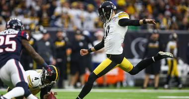 Pittsburgh Steelers kicker Chris Boswell (9) attempts a field goal during the game against the Houston Texans at NRG Stadium.