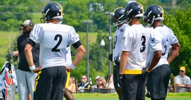 Steelers quarterbacks Mason Rudolph (2), Landry Jones (3) and Joshua Dobbs (5) at Steelers training camp in 2018