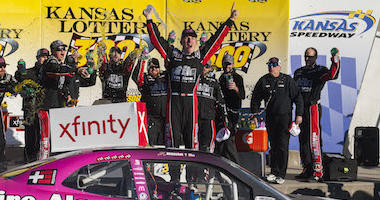 John Hunter Nemechek Gets First Xfinity Series Win At Kansas Speedway In No. 42 Chip Ganassi Racing Chevrolet Camaro
