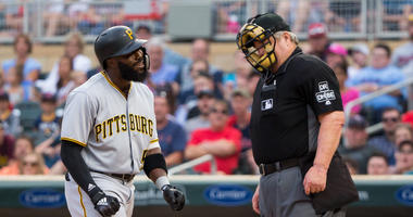 Josh Harrison and umpire Joe West