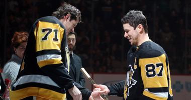 Sid And Geno Compete In T-Shirt Cannon Competition