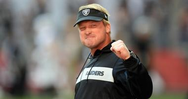 Oakland Raiders head coach Jon Gruden reacts during warmups prior to facing the against the Arizona Cardinals at State Farm Stadium.
