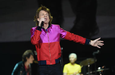 Mick Jagger of The Rolling Stones performs onstage during Desert Trip at the Empire Polo Field on October 14, 2016