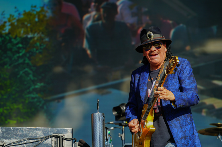 Carlos Santana of Santana performing live on the Great Oak stage