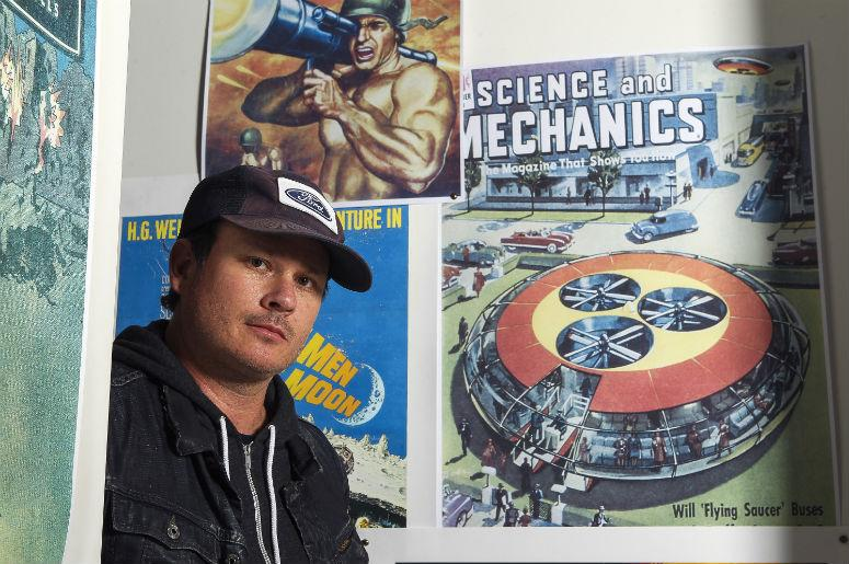 Blink-182 co-founder Tom DeLonge, who is no longer with the band, poses for a portrait in his shop To the Stars on Feb. 25, 2017 in Encinitas, Calif.