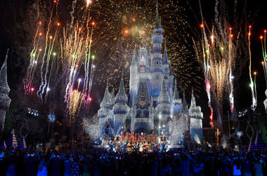 In this handout photo provided by Disney Parks, a view of fireworks, holiday lights and fanfare at Cinderella's Castle during a taping of Disney Parks Presents a Disney Channel Holiday Celebration at Walt Disney World Resort on November 05, 2017 in Lake B