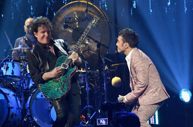 Neal Schon and Arnel Pineda of Journey perform onstage at the 32nd Annual Rock & Roll Hall Of Fame Induction Ceremony