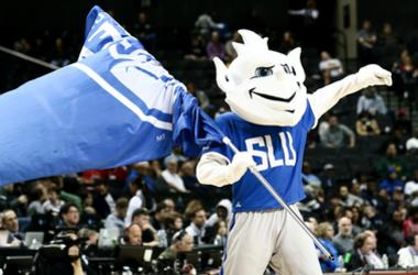 Mar 16, 2019; Brooklyn, NY, USA; Saint Louis Billikens mascot during the second half of a semifinal game of the Atlantic 10 Conference tournament against the Davidson Wildcats at Barclays Center.