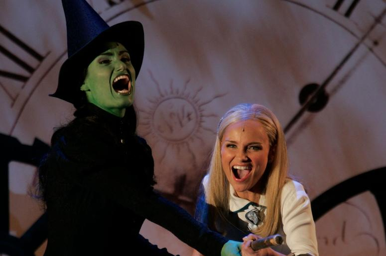 Idina Menzel, left, and Kristin Chenoweth of Wicked perform at the 58th Annual Tonys Awards at Radio City Music Hall in New York City. Menzel and castmate Kristin Chenoweth are both nomminated for Best Actress in a Musical for Wicked.