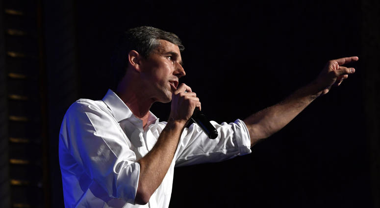 U.S. Senate candidate Beto O'Rourke speaks during a town hall meeting