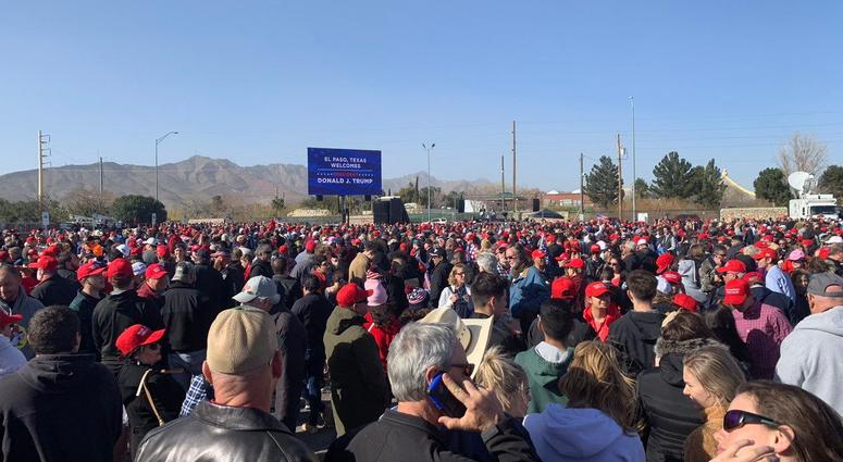 A crowd estimated at over 850 wait to enter the El Paso Coliseum on Monday afternoon as they wait to hear President Donald Trump.