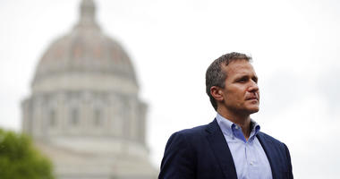 FILE - In this May 17, 2018 file photo, Missouri Gov. Eric Greitens looks on before speaking at an event near the capitol in Jefferson City, Mo.