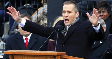 FILE - In this Jan. 9, 2017, file photo, Missouri Gov. Eric Greitens gives his inaugural address from the steps of the capitol in Jefferson City, Mo.