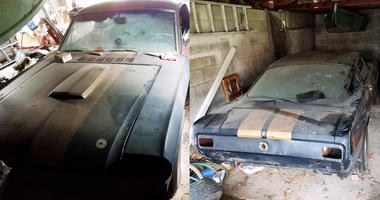 Shelby Mustang found in garage.
