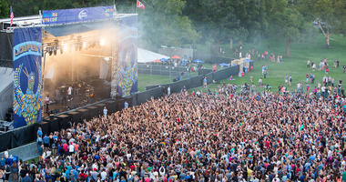 Photo of crowd at LouFest in Forest Park in 2014.