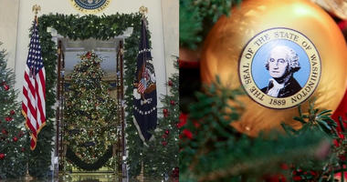 "First lady Melania Trump on Monday revealed the 2018 holiday décor, which featured a theme of ""American Treasures."""